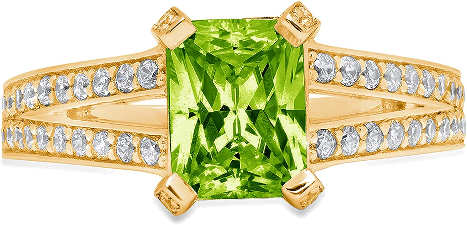 2.67ct Emerald Cut Solitaire with Accent split shank Flawless Genuine Natural Pure Green Peridot Gemstone VVS1 Designer Modern Statement Ring Solid 14k Yellow Gold