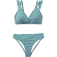 Seaselfie Women's Cyan White Stripe Double Straps Low Rise Removable Padded Bikini