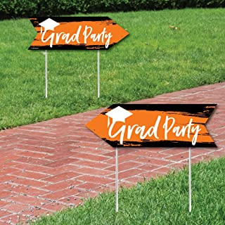 Orange Grad - Best is Yet to Come - Orange Graduation Party Sign Arrow - Double Sided Directional Yard Signs - Set of 2
