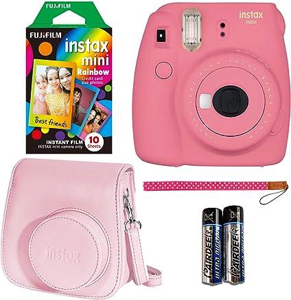 Fujifilm Instax Mini 9 Instant Camera - Flamingo Pink, Fujifilm Instant Mini Rainbow Film, and Fujifilm Instax Groovy Camera Case - Pink