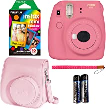 Fujifilm Instax Mini 9 Instant Camera - Flamingo Pink, Polaroid Instant Mini Film, Fujifilm INSTAX Wallet Album Pink and Fujifilm Instax Groovy Camera Case - Pink