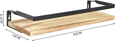 StorageWorks ウォールシェルフ 2個セット ウォールラック 壁掛け棚 天然木 パイン 鉄製 スチール ガード付き ネジ付き 石膏ボード対応 取り付け簡単 飾り棚 インテリア 収納 リビングルーム キッチン トイレ 壁面収納 雑貨 小物置き 整理整頓 おしゃれ アンティーク ナチュラル