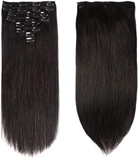 "Lovbite Hair Human Hair Clip In Hair Extensions Double Weft 120g/4.2oz 20 Inch Grade 8A Straight Clip On Human Hair Extensions 8Pieces/Lot 20Clips(20""-120g, 1B Natural Black)"