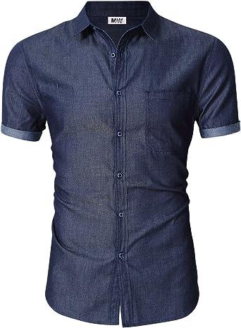MrWonder Camisa de Jean de Manga Corta para Hombre, Informal ...