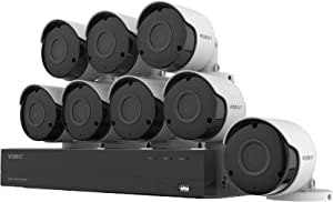 Wisenet SDH-C84085BF 8 Channel Super HD DVR Video Security System with 2TB Hard Drive and 8 5MP Weather Resistant Bullet Cameras (SDC-89445BF) (Renewed)