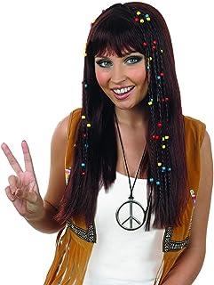 Fun Shack Peluca de Hippie castaña con Trenzas para Mujer. Accesorio para el Disfraz de Hippie de los años 70 para Adultos