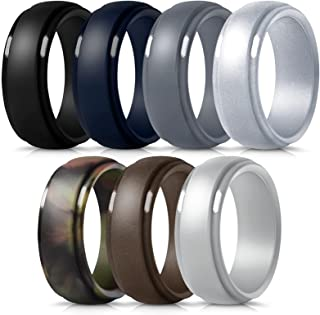 Mokani Silicone Ring for Men, 7-Pack Step Edge Sleek Design Rubber Wedding Bands, Comfortable Fit Skin Safe Durable Affordable, Assorted Size