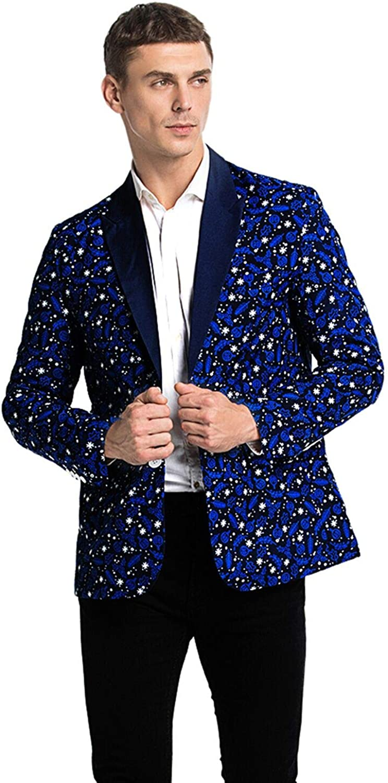 Men's Christmas Party Blazer Jacket with Festival Print Bachelor Novelty Costume Jacket Regular Fit