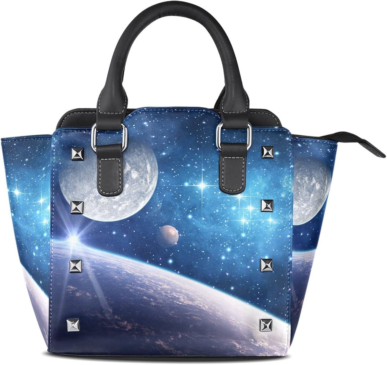 My Little Nest Women's Top Handle Satchel Handbag Space Galaxy Planet Stars Ladies PU Leather Shoulder Bag Crossbody Bag