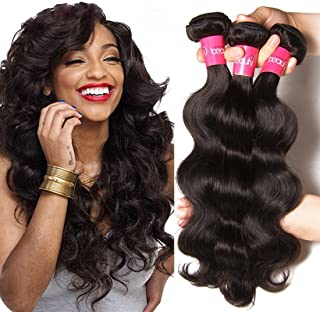 Dinoce Compatible with Longqi Beauty Brazilian Body Wave Remy Hair 3 Bundles, 100% Unprocessed Human Virgin Hair Body Wave 300g (16 18 20 Inch, Natural Color)