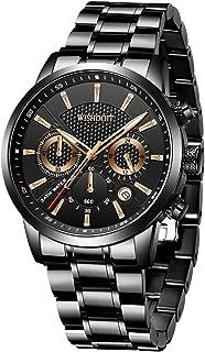 Hombre Elegante Deportes Reloj de Cronógrafo de Cuarzo Analógico Impermeable con Moda Negro Pulseras de Acero iInoxidable