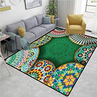 Moroccan Non Slip Rugs Oriental Motif with Mix of Hippie Retro Circle Morocco Mosaic Lines Sacred Design Print Environmental Protection W78 x L118 Multi