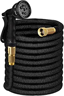 Tigerhu Garden Hose Expandable, 100ft Flexible Lightweight Water Hose with 8-Mode Spray Nozzle, Triple Layer Latex Core, 3/4 Solid Brass Fittings, Nylon-Elastic Shell with Storage Bag, Black