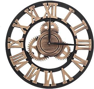 Fdit Reloj de Pared Vintage 3D, Reloj de Pared Rústico Hecho a Mano Grande Decoración Vintage de Madera para Salón