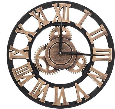 Ymiko Horloge Murale, Horloge Murale Rustique 3D de 30 cm, Horloge Suspendue de Style Industriel rétro Grand engrenage décor