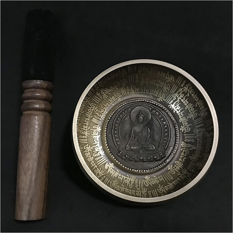 WPJ Cuencos Tibetanos Cuenco Tibetano Set de Cuenco 12 cm Nepal Chakra Yoga Meditación Cuenco Buddismo Brox Tbarrillos Tibetanos (Color : Dark Khaki)