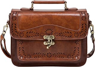 ECOSUSI Damen Umhängetasche Vintage Umhängetaschen Crossbody Schultertasche Kunstleder Handtasche Braun