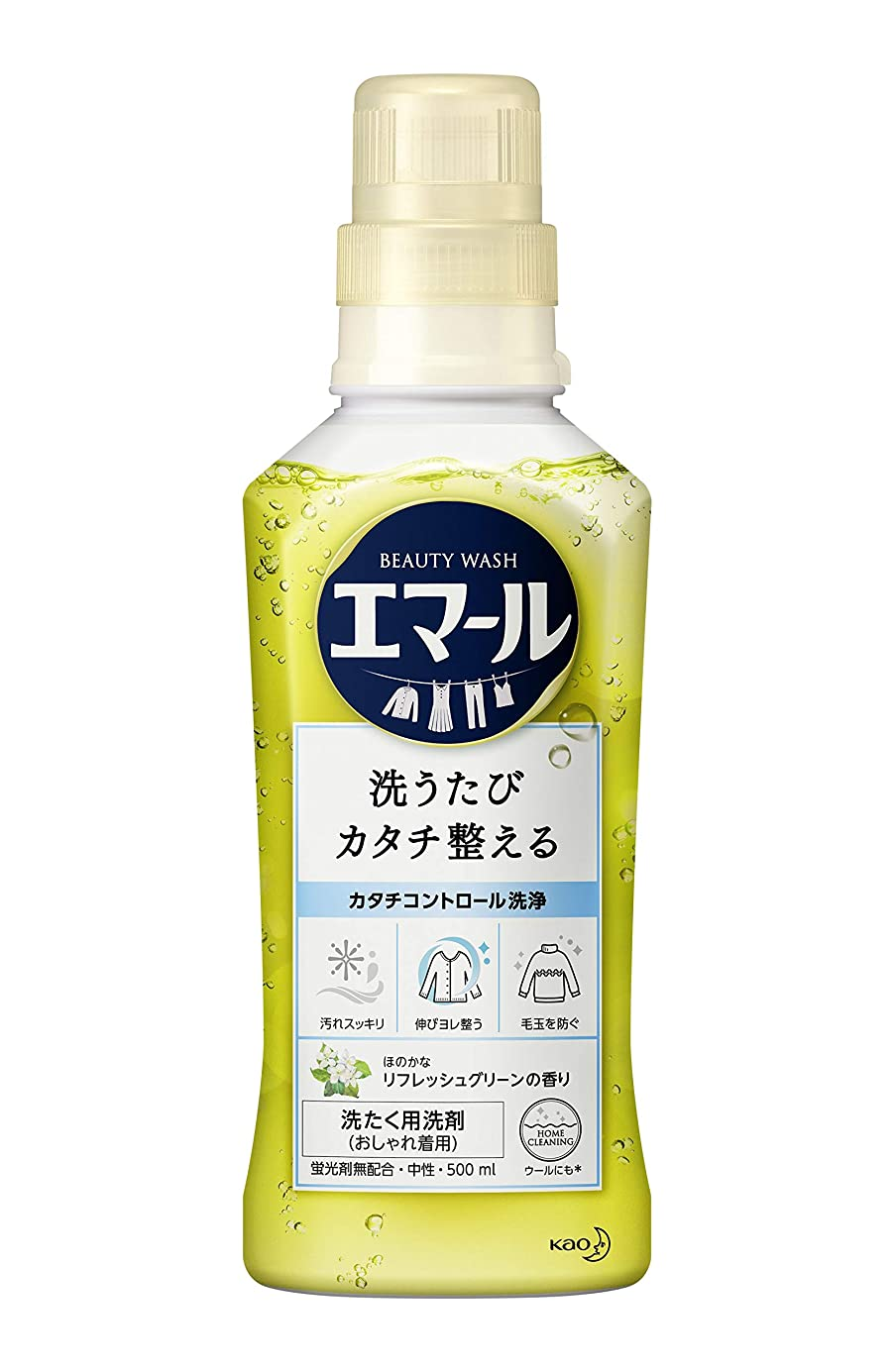 睡眠結び目提案するエマール 洗濯洗剤 液体 おしゃれ着用 リフレッシュグリーンの香り 本体 500ml