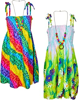 Áo quần dành cho bé gái – Girls Casual Dress for Kids Boho Summer Beach Sundress with Necklace 3-8 Y