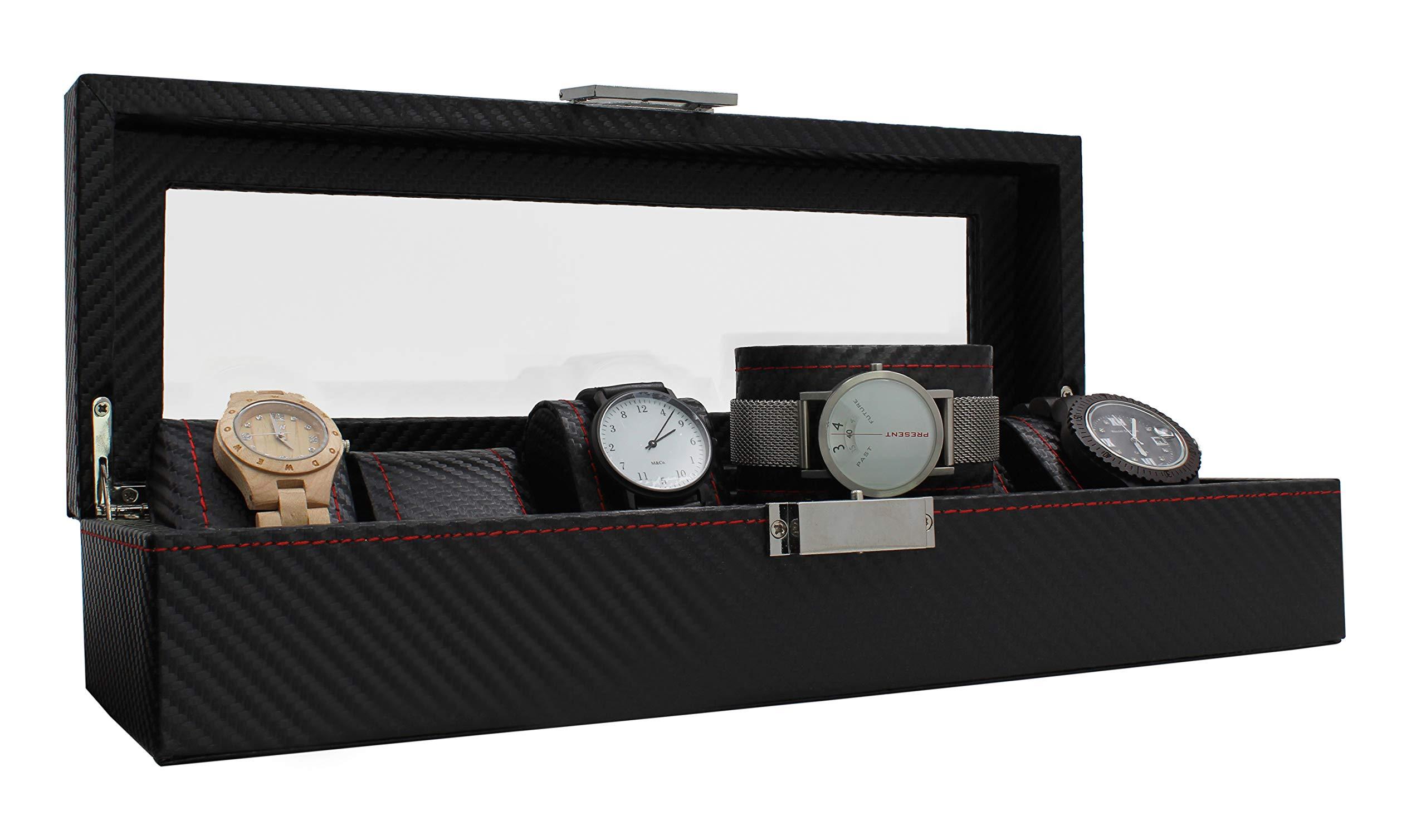 Royal Brands 手表盒收纳盒碳纤维图案展示珠宝收纳盒 黑色/白色 6 Slots 4169