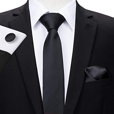 HYCZJH 5.5cm Conjunto de Corbata Negra de Seda Lazos ...