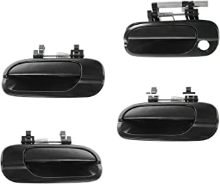 Door Handle Smooth Black Outer Outside Kit Set of 4 for...