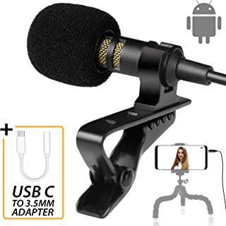 Android Type-C Microphone - Lavalier Mic Type C for Android - Phone  Microphone Android with Type-C Adapter - Type C Microphone for Interview,