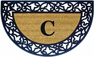 Nedia Home Acanthus Border with Half Round Rubber/Coir Doormat, 22 by 36-Inch, Monogrammed C