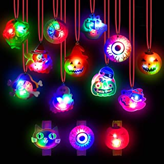 Halloween Lights- 24 Pack Halloween LED Necklace Pumpkin Ghost Pirate Spider Eyeball Necklace Halloween Party Favor Light ...
