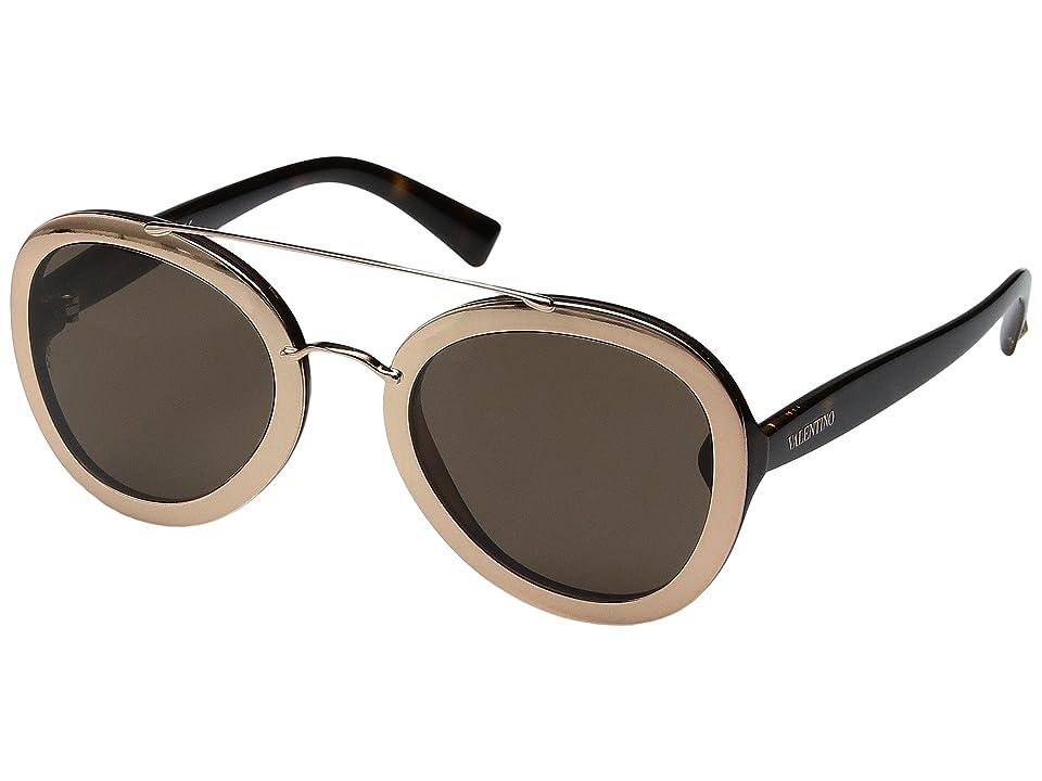 Valentino VA 4014 (Rose Gold/Dark Havana/Brown) Fashion Sunglasses