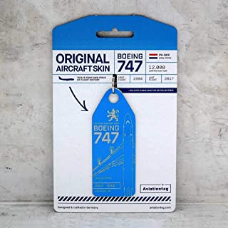 AVT015 AviationTag Boeing 747 (KLM) Blue Original Aircraft Skin Keychain/Luggage Tag/Etc with Lost & Found Feature