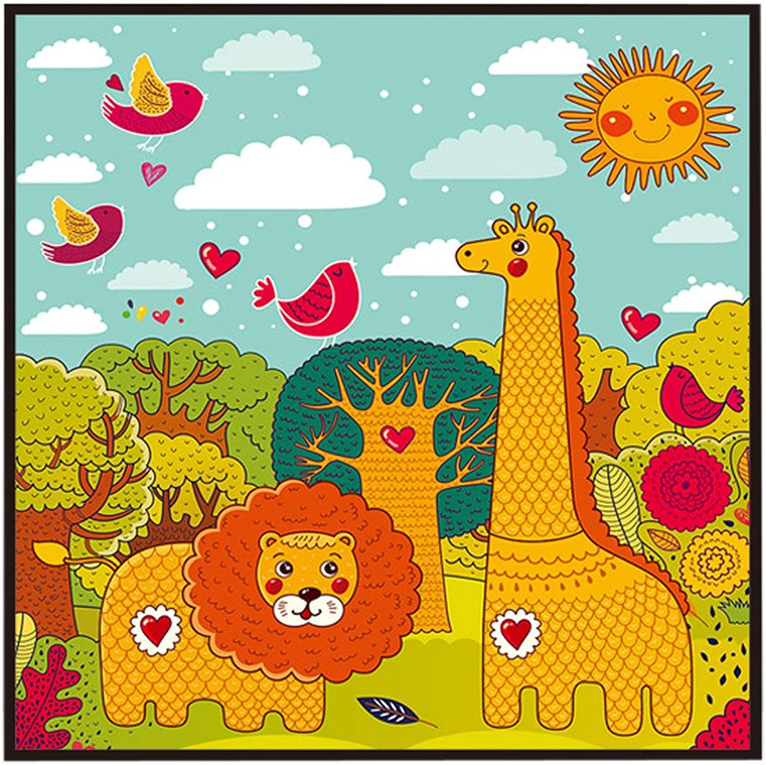 [Zoo] Decorative Painting Framed Painting Wall Decor Kids Creative Picture