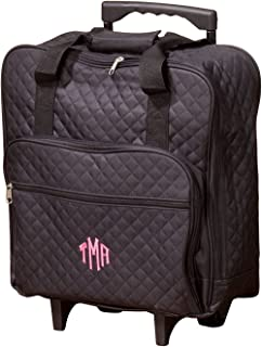 Personalized Black Quilted Rolling Tote