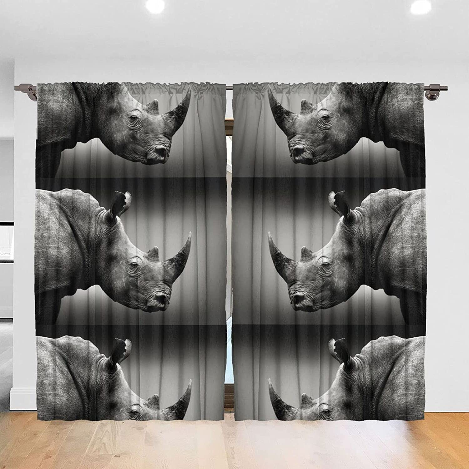 South Africa Rhino Print Blackout Curtains X Super beauty product restock quality top for 84 52 I Bedroom Outlet SALE