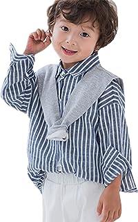 ZKKK 子供 秋服 長袖シャツ ブラウス ボーイズシャツ 重ね着 トップス ストライプシャツ 子供服 上着 男の子インナーシャツ 通学 ジュニア 綿 キッズシャツ ベビーシャツ ファッション 可愛い カジュアル おしゃれ