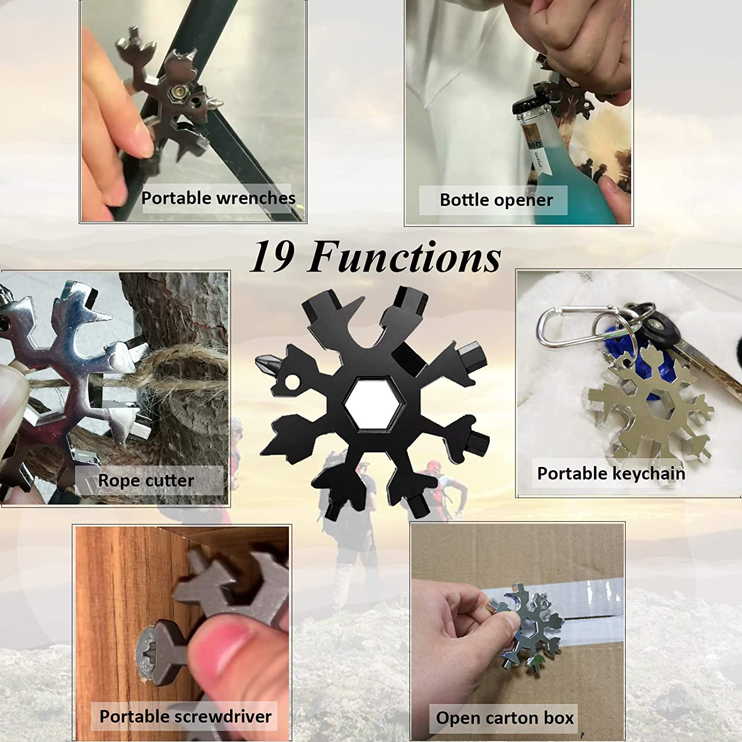 Gift for Outdoor Enthusiast and Men Black with Gift Box 19-in-1 Snowflake Tool Outdoor Portable Keychain Screwdriver Bottle Opener Snowflake Multitool Snowflake Multitool