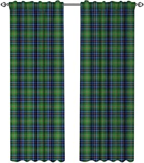 Plaid, Curtains Pattern, Grunge Looking Vibrant Colored Scottish Folkloric Pattern with Cultural Retro Design, Curtains Kids Bedroom, W72 x L96 Inch, Multicolor