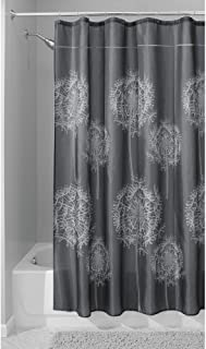 iDesign Dandelion Fabric Shower Curtain Water-Repellent and Mold- and Mildew-Resistant for Master, Guest, Kids', College Dorm Bathroom, 72