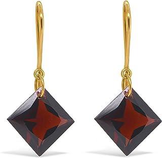 Gehna 18k (750) Yellow Gold and Garnet 18k Gold Garnet Earrings Drop Earrings for Women