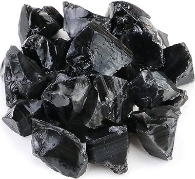 FIREBOOMOON 2lb/950g Rough Natural Black Obsidian Stones Raw Gemstone Crystal Rock for Cabbing,Tumbling,Cutting,Polishing,Lap