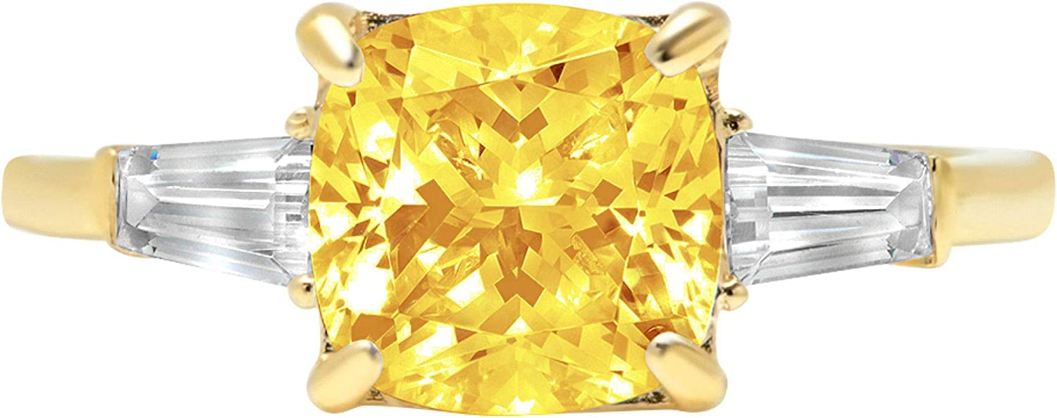 3.44ct Cushion Baguette cut 3 stone Solitaire with Accent Canary Yellow Ideal VVS1 Simulated Diamond CZ Engagement Promise Statement Anniversary Bridal Wedding Ring 14k Yellow Gold