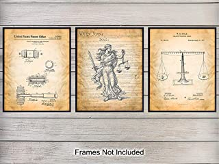 Law Patent Wall Art Print Set - Retro Vintage Home Decor Perfect for Office, Den, Man Cave, Bedroom - Makes a Great Gift for Lawyers, Attorneys and Judges - 8x10 Photo - Unframed