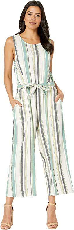 Sleeveless Multi Stripe Belted Culotte Jumpsuit