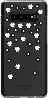 Kate Spade New York Phone Case | for Samsung Galaxy S10 Plus | Protective Clear Crystal Hardshell Phone Cases with Slim Floral Design and Drop Protection - Scattered Flowers Black/White/Gems