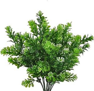 GEEDIAR 2Pcs Artificiel Feuilles Milan Herbe Feuilles Arbustes Plastique Jardin Décoration de Mariage 7 Branches/Bouquet