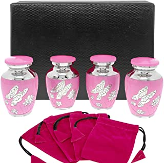 Pink Butterfly Small Keepsake Urns for Human Ashes - Set of 4 - These Small Urns are Perfect for Showing Love and Affection - A Simple Beautiful Design and High Quality Finish - w Case and 4 Pouches