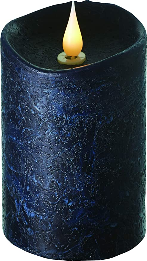 地球注釈を付けるモトリーエンキンドル 3D LEDキャンドル ラスティクピラー 直径7.6cm×高さ13.5cm ブラック