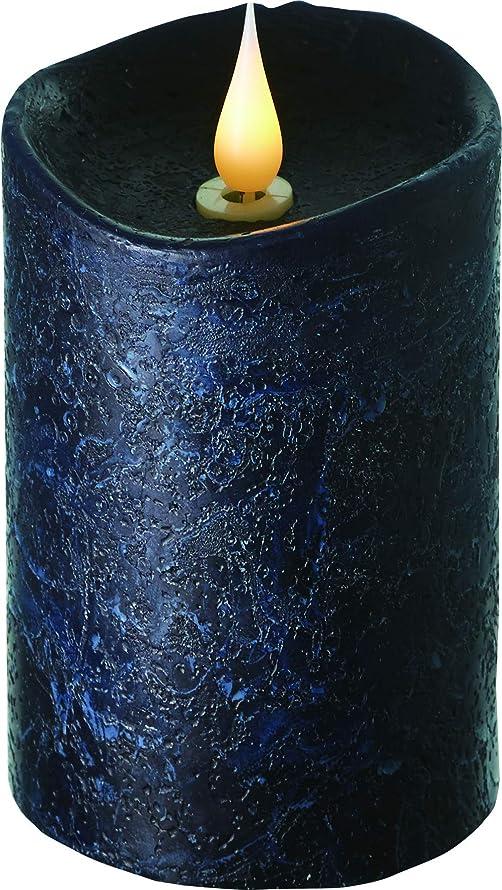 親泥沼シャープエンキンドル 3D LEDキャンドル ラスティクピラー 直径7.6cm×高さ13.5cm ブラック