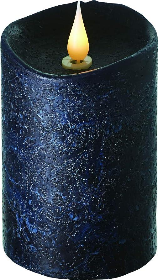 報奨金直感アパルエンキンドル 3D LEDキャンドル ラスティクピラー 直径7.6cm×高さ13.5cm ブラック