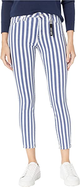 Tess High-Rise Skinny in White Stripe Denim